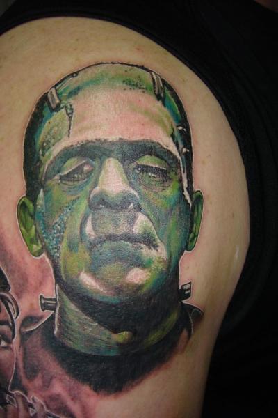 Shoulder Fantasy Frankenstein Tattoo by Tora Tattoo