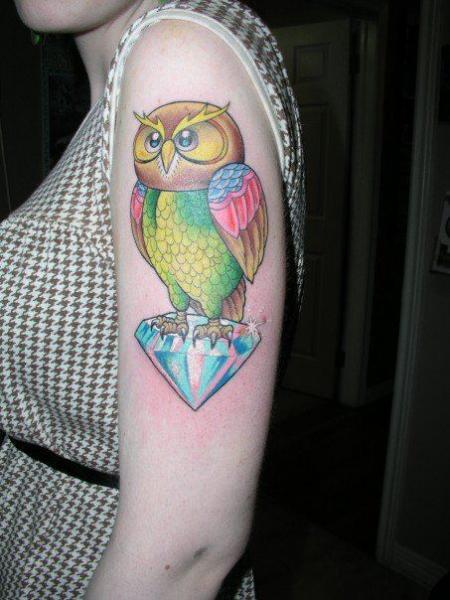 Shoulder New School Owl Diamond Tattoo by Tora Tattoo