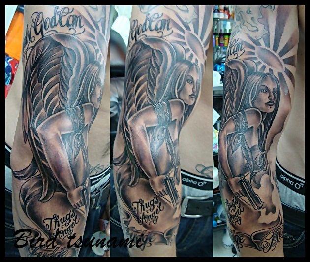 Arm Fantasy Angel Tattoo by Bird Tattoo