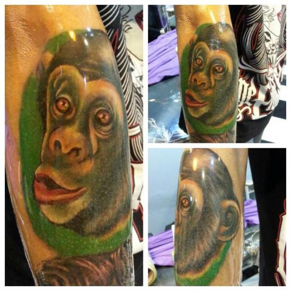 Arm Realistic Monkey Tattoo by Bird Tattoo