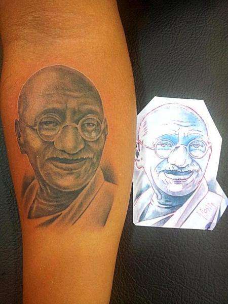Arm Portrait Realistic Gandhi Tattoo by Bird Tattoo
