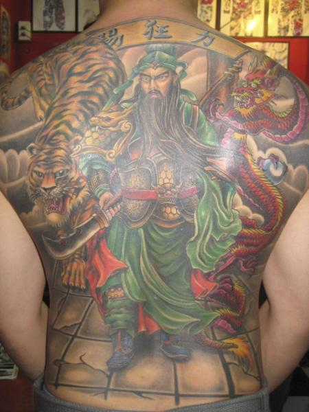 Tatuaje Japoneses Espalda Samurai Tigre por Bird Tattoo