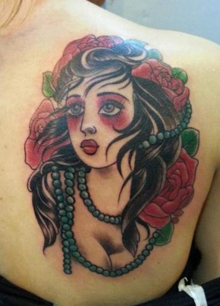Old School Back Gypsy Tattoo by Bird Tattoo