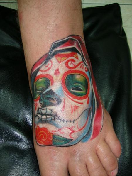 Foot Mexican Skull Tattoo by Bird Tattoo