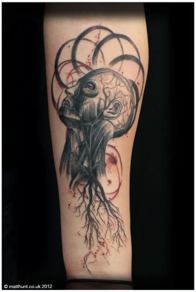 Arm Fantasy Head Tattoo by Matt Hunt