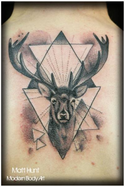 Back Deer Tattoo by Matt Hunt
