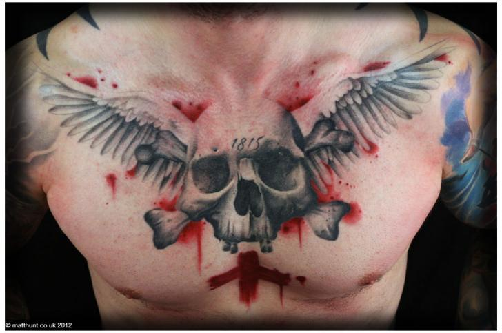 Chest Skull Wings Tattoo by Matt Hunt