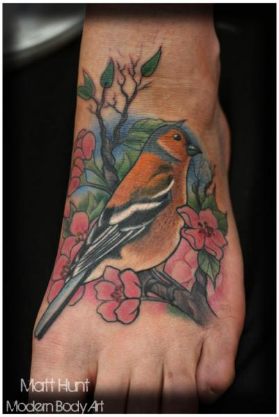 Realistic Foot Bird Tattoo by Matt Hunt