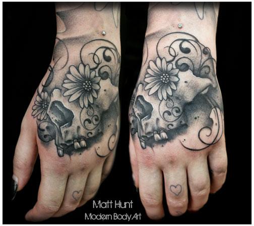 Skull Hand Tattoo by Matt Hunt