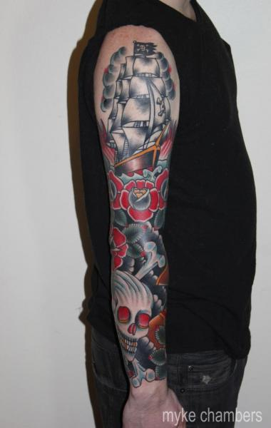 Arm Old School Skull Galleon Tattoo by Mike Chambers