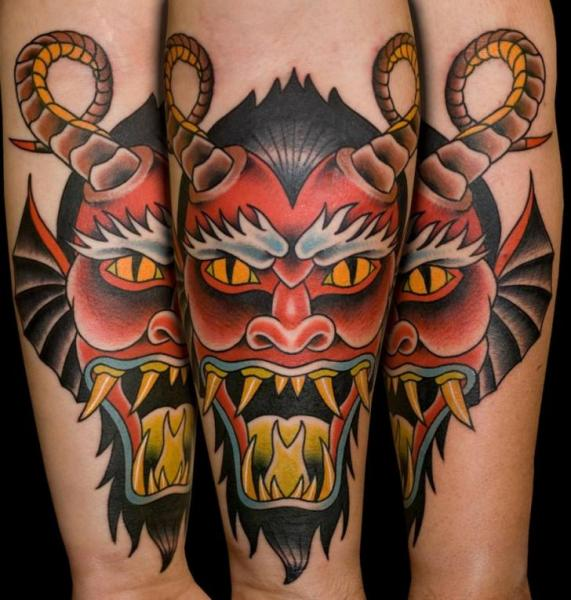 Arm Old School Devil Tattoo by Mike Chambers