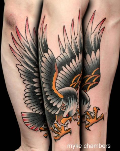Arm Old School Eagle Tattoo by Mike Chambers