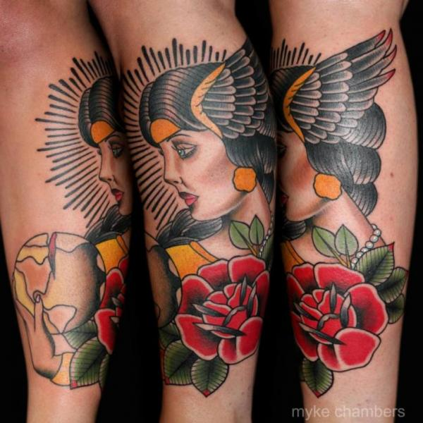 Arm Old School Flower Women Tattoo by Mike Chambers