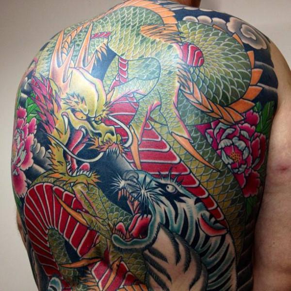 Tatouage Japonais Retour Tigre Dragon Par Mike Chambers