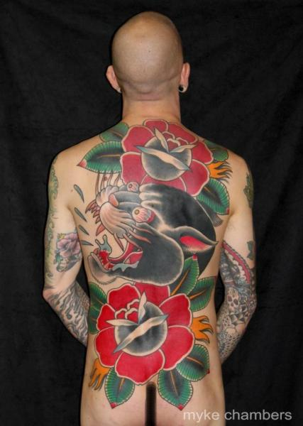 Flower Japanese Back Panther Tattoo by Mike Chambers