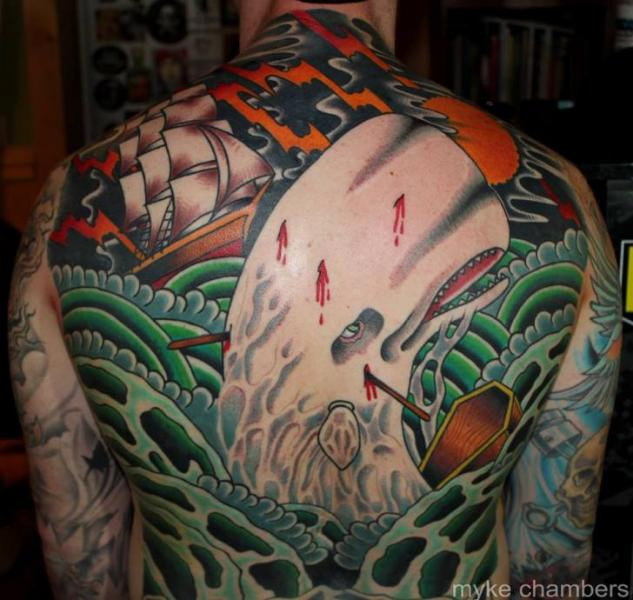 Old School Back Whale Sea Tattoo by Mike Chambers