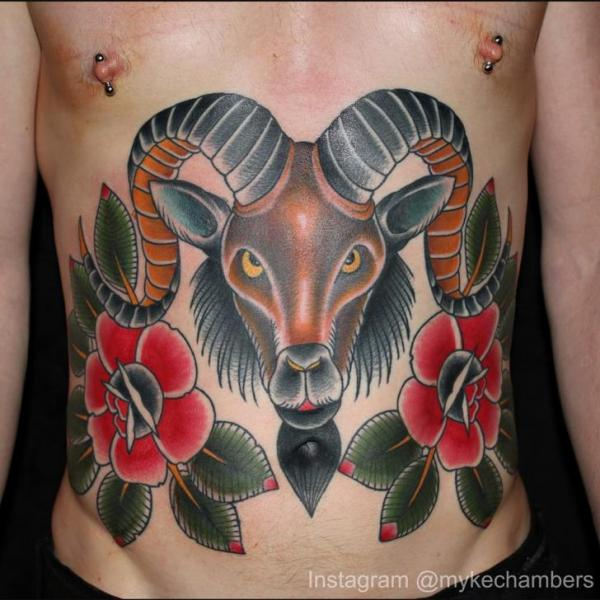 Old School Bauch Tattoo von Mike Chambers