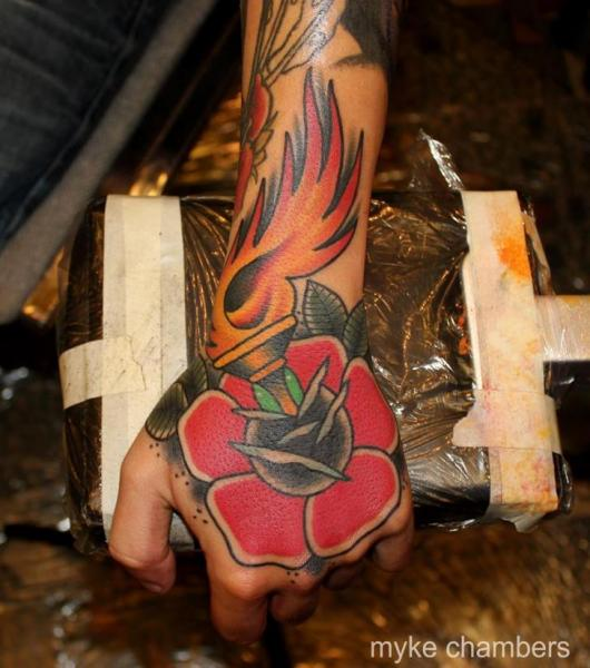 Old School Flower Hand Flame Tattoo by Mike Chambers