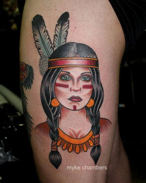 Old School Leg Indian Tattoo by Mike Chambers