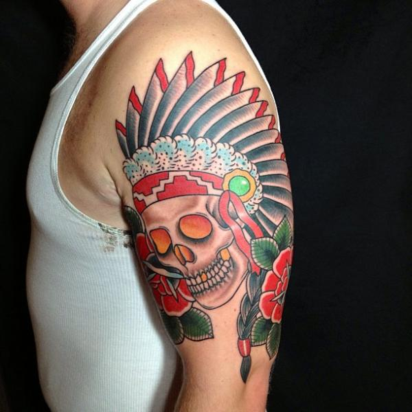 Shoulder Old School Skull Indian Tattoo by Mike Chambers