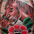 Old School Horse Thigh tattoo by Mike Chambers