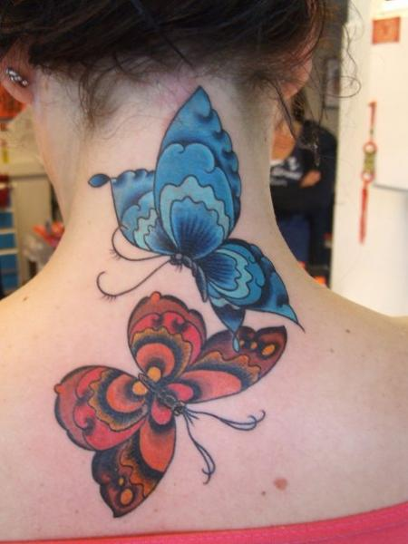Back Butterfly Neck Tattoo by Babakhin