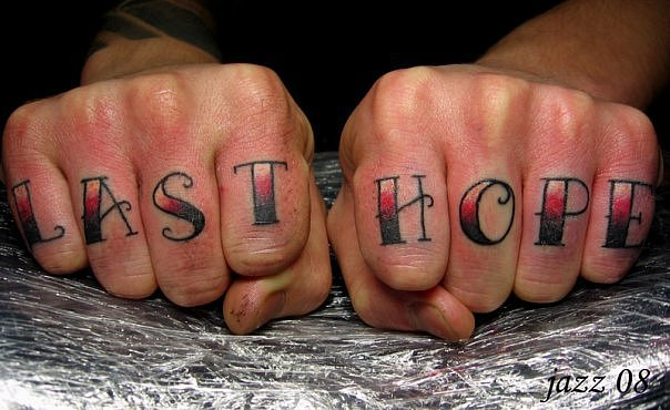 Old School Finger Lettering Tattoo by Babakhin