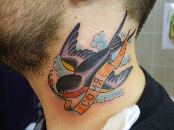 Old School Neck Bird Tattoo by Babakhin