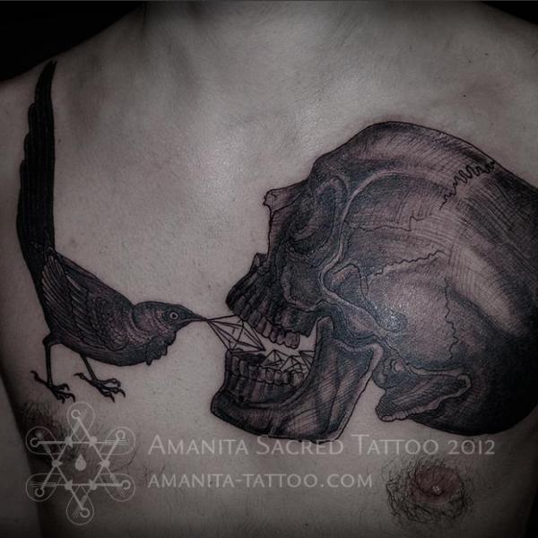 Chest Skull Dotwork Bird Diamond Tattoo by Amanita Tattoo