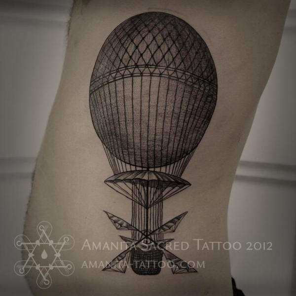 Side Dotwork Balloon Tattoo by Amanita Tattoo
