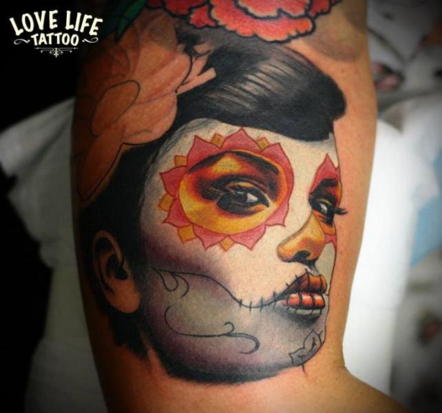 Arm Mexican Skull Tattoo by Love Life Tattoo