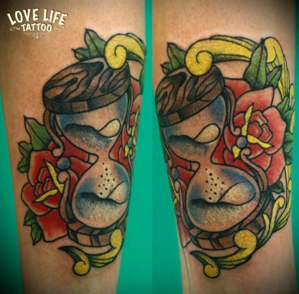 Arm Old School Clepsydra Tattoo by Love Life Tattoo
