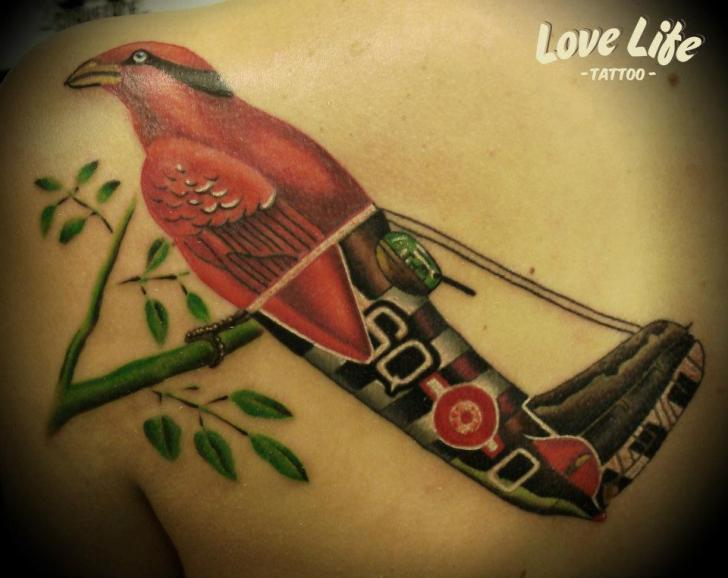 Fantasy Back Bird Airplane Tattoo by Love Life Tattoo