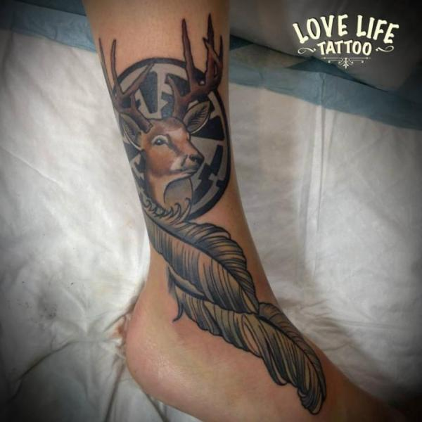Foot Feather Deer Tattoo by Love Life Tattoo