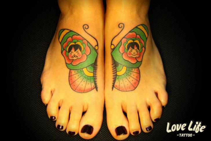 New School Foot Butterfly Tattoo by Love Life Tattoo