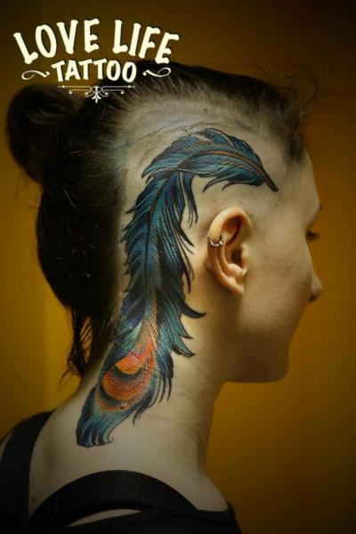 Realistic Feather Head Neck Tattoo by Love Life Tattoo