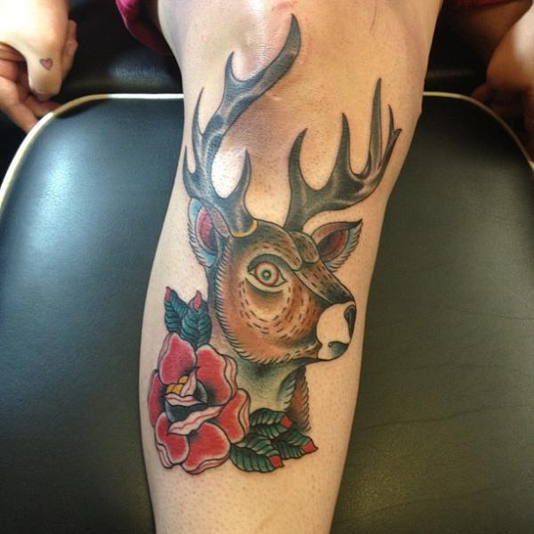 Old School Leg Deer Tattoo by Love Life Tattoo