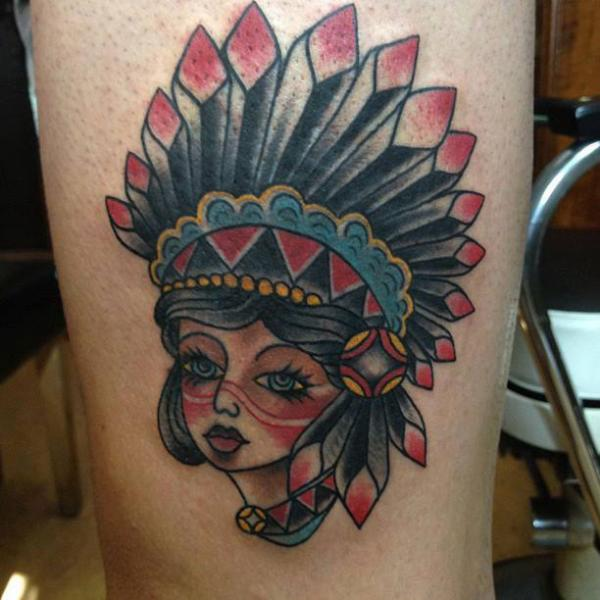 Old School Leg Indian Tattoo by Love Life Tattoo