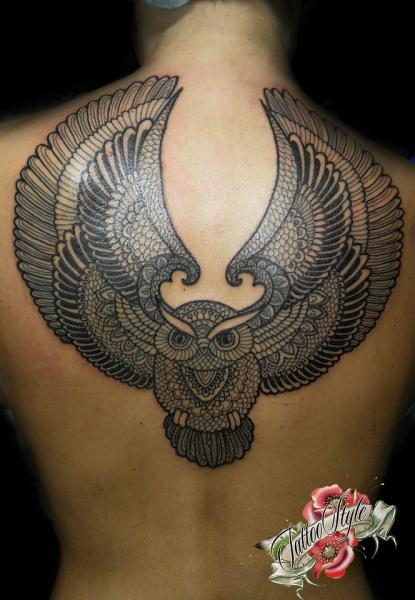 Back Owl Dotwork Tattoo by Style Tattoo