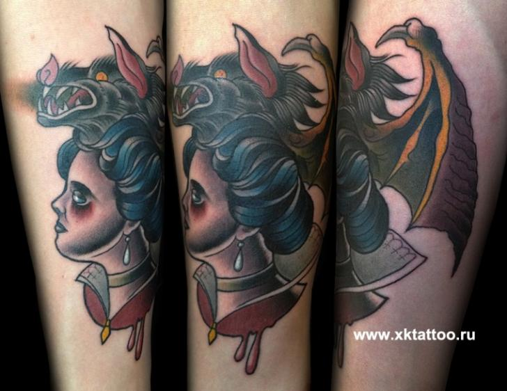 Arm Old School Women Bat Tattoo by XK Tattoo
