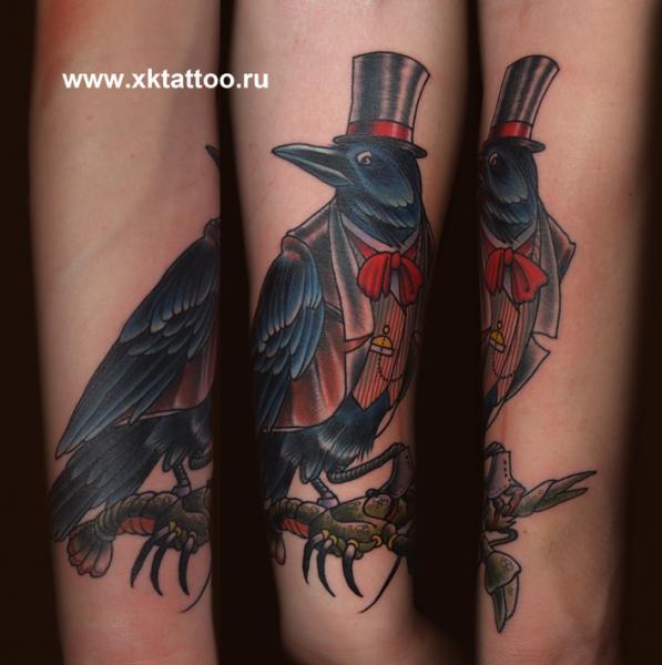 Arm Fantasy Old School Crow Tattoo by XK Tattoo