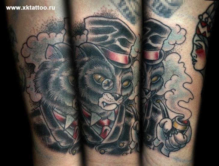 Arm Fantasie Old School Katzen Tattoo von XK Tattoo