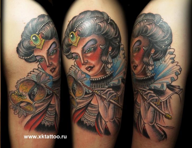 Arm Old School Women Tattoo by XK Tattoo