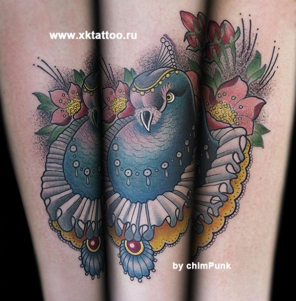 Dotwork Bird Tattoo by XK Tattoo