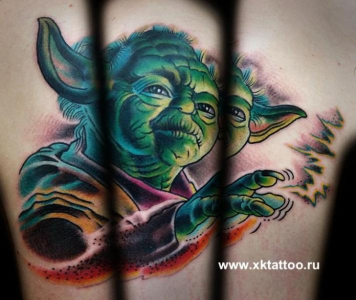 Fantasy Yoda Tattoo by XK Tattoo