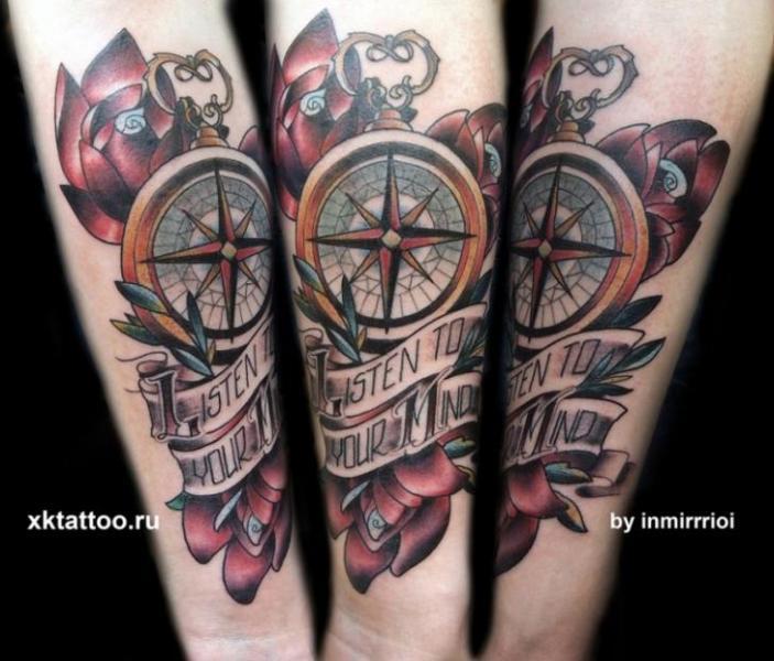 New School Compass Tattoo by XK Tattoo