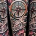 New School Compass tattoo by XK Tattoo