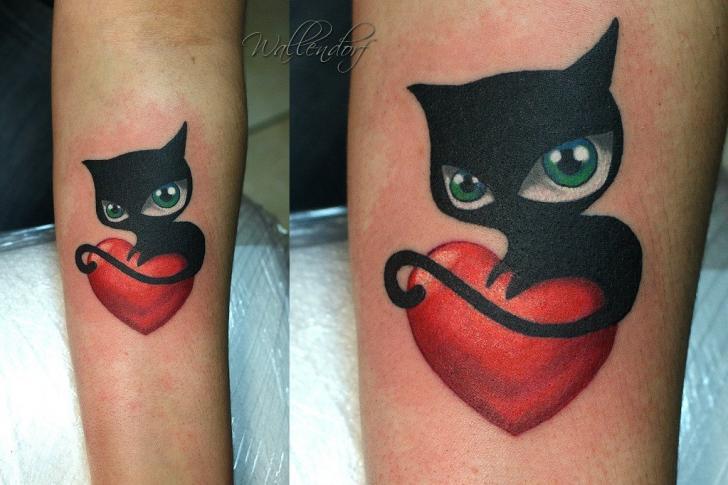 Arm Herz Katzen Tattoo von Lacute Tattoo