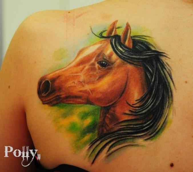 Realistic Back Horse Tattoo by Lacute Tattoo