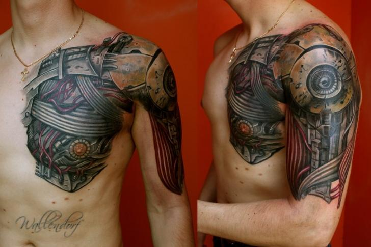 Shoulder Arm Biomechanical Chest Tattoo by Lacute Tattoo